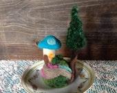 Needle Felted Fairy Village on Vintage Saucer