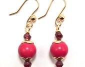 Red Coral & Garnet Gemstone Earrings