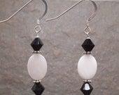 Black & White Swarovski Crystal and Shell Sterling Silver Earrings