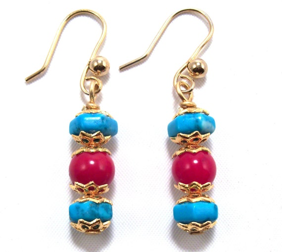 coral and turquoise earrings by sleeplessart on etsy