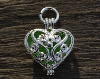 Sea Glass Jewelry Necklace with Green Jersey Shore Sea Glass Heart Charm