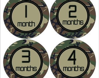 Camo Baby Photo Prop, Camouflage Monthly Sticker, Bodysuit Sticker, Baby Gift,   Baby Shower Gift, Military Nursery Decor (215)