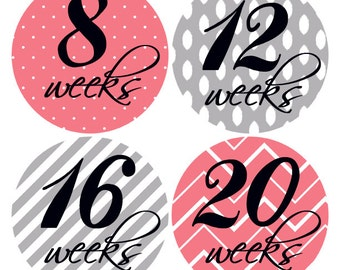 Coral and Grey Baby Bump Stickers, Maternity Stickers, Belly Stickers, Pregnancy Stickers, Pregnancy Reveal, Pregnancy Week Stickers (244)