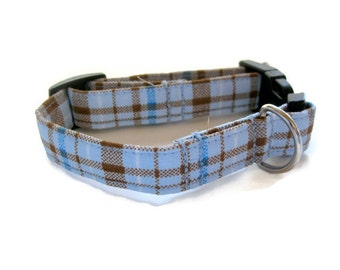 Blue and Brown Plaid Dog Collar size Extra Small
