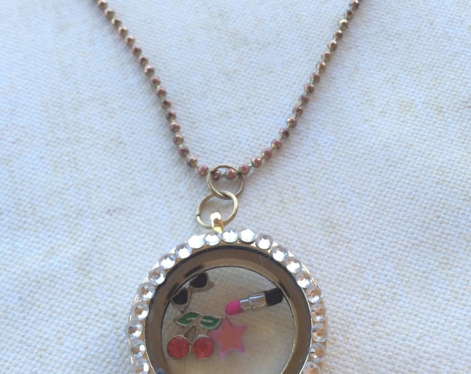 Floating Lockets, Floating Charm Lockets, Floating Locket Charms, Floating Locket, Floating Charms, Floating Charm Necklace, 50's Pin Up