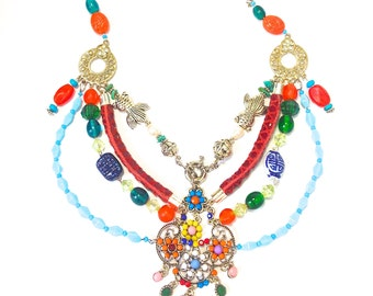 Boho Vintage Assemblage Jewellery - Mixed materials necklace
