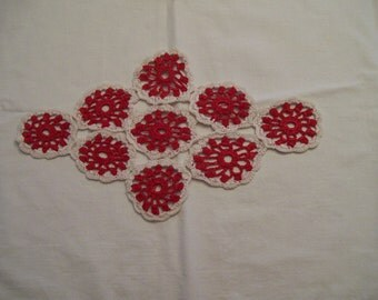 Red Crocheted Doily Hand Done Vintage Shabby Chic