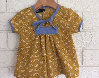 Mustard Floral Blouse - size 1