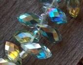 8 Green Grey AB Crystal Briolettes 12mm