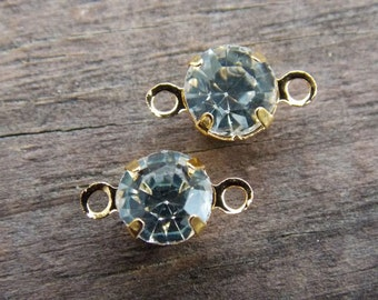12 Clear Rhinestone Connectors in Gold Settings 11mm