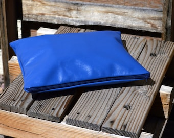Leather Clutch in Blue - Ready to Ship