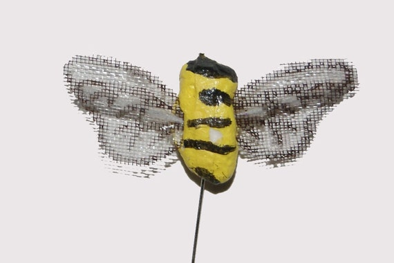 12 pc 1 inch artificialcraft bee on wire pick for floral for Artificial bees for decoration