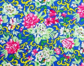 C2005B - 1 meter  Cotton Fabric - Flowers on blue (145cm width)
