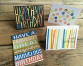 Happy Birthday cards, four matching boy birthday cards 5x7 in. instant printable birthday cards; download all four perfect for anyone cards