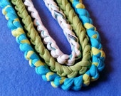 Three Recycled T-shirt Chain Necklaces - turquoise, lime green, white