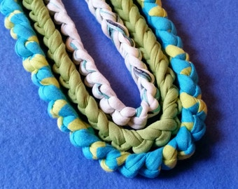 Three Recycled T-shirt Chain Necklaces - turquoise, lime green, white - crochet tshirt yarn tarn