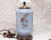 RESERVED Blue Satin Glass Floral Table Electric Lamp Soft Lighting