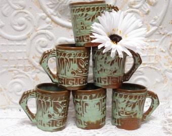 Mayan Aztec Frankoma Mug Prairie Green 7CL