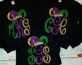 Monogrammed GLITTER Long Sleeve T-Shirt-Mardi Gras Jester