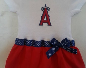 Anaheim Angels inspired baby girl outfit