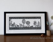 Woodland at Dusk a framed handcut papercut by Loula Belle at Home - Reduced