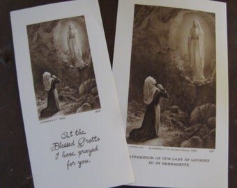 Two Our Lady of Lourdes appearing to St. Bernadette Prayer Cards Dated 1907