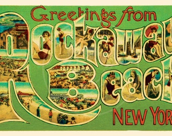 Greetings from Rockaway Beach - 10x16 Giclée Canvas Print of Vintage Postcard