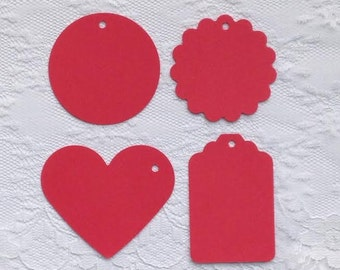 25 RED Heart Scalloped Circle Hang Tag Shape Cardstock Paper Gift Tags