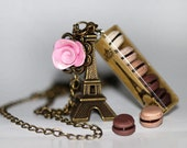 Chocolate Macaron Necklace - Eiffel Tower Necklace - French pastry Necklace - Macaroon Necklace - Food jewelry - Food Necklace