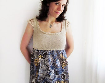 Empire waist top with print cotton fabric - Size S/M