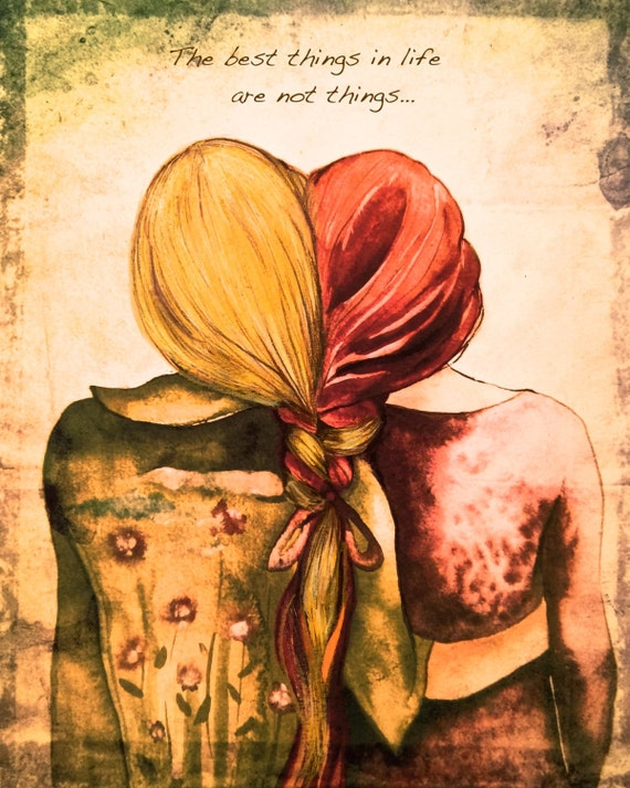 Red andblond hair sister best friend art print