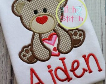 Valentine Bear with Heart - Appliqued and Personalized Shirt