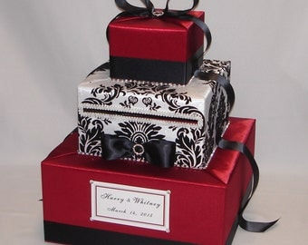 Red, Black and White Damask Wedding Card Box -any colors