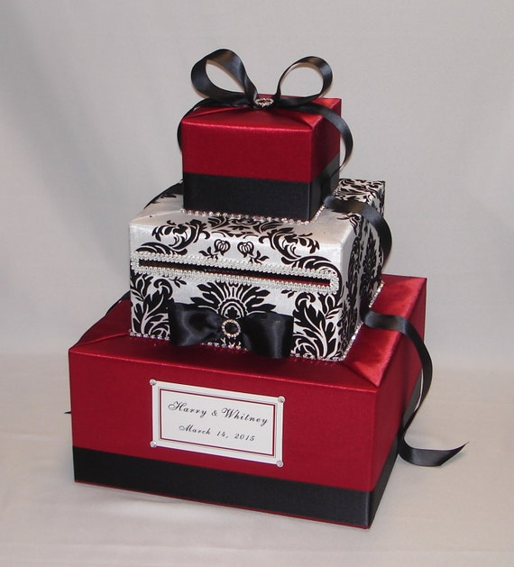 Black And White Wedding Gift Card Box : Red, Black and White Damask Wedding Card Box -any colors