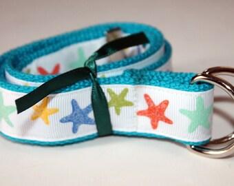 Starfish Belt Sparkle Ribbon Belt Turquoise Webbing Sparkle D Ring Belt Glitter Belt Nautical Belt Beach Party Girs Beach Birthday Belt