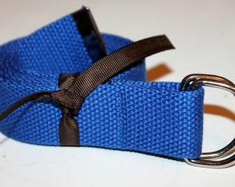 "Mens Belt Royal Blue Ladies D Ring 1.25"" Wide Royal Blue Men's Belt Blue Canvas Belt Blue Webbing Belt Adjustable Royal Blue D Ring Belt"
