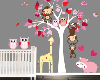 Pink Nursery tree set, owl wall decals, nursery decal, baby hippo, giraffe wall stickers, playroom decals, pink, red