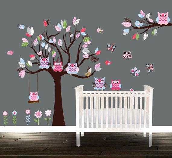 Chouette wall decal d calque de p pini re de gar ons for Stickers hibou chambre bebe