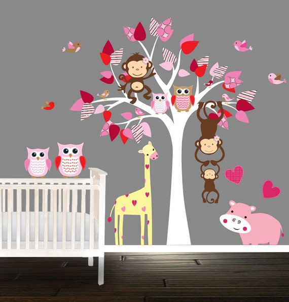 arbre de p pini re rose set stickers muraux hibou d calque. Black Bedroom Furniture Sets. Home Design Ideas