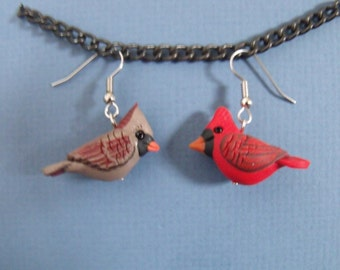 Polymer Clay  Male and Female Cardinal Bird Earrings