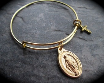 Virgin Mother Mary Miraculous Medal adjustable wire bangle bracelet with cross charm Antique Gold finish Religious jewel