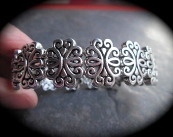 Silver Filigree Bracelet Stretch Bracelet cuff style Ornate Silver Stretch bracelet Great Gift!