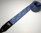 Handmade double padded Blue Paisley guitar strap with leather tips