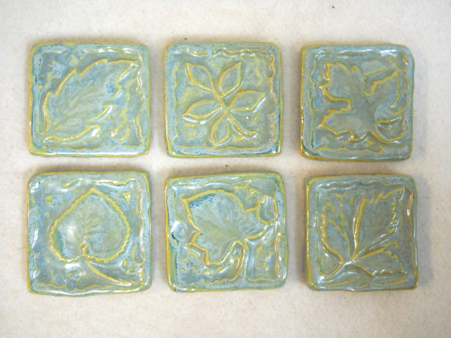 Handmade Ceramic Tiles Decorative Leaf Patterns Sky Blue