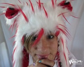 Fuzzy Aviator hat, WhiteRed SPIKES hat, You're Purrrfect Cat  lining, Red White fur, earflap fur hat, raverwear, Burning Man, Cat Lover