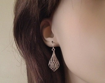 Silver Drop Diamond Cut Earrings with Sterling Silver Ear Wires