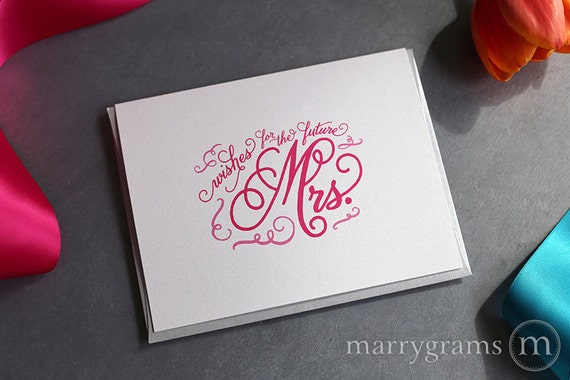 Bridal Shower Gift Greeting Card : Bridal Shower Card Wishes for the Future Mrs. Wedding Card