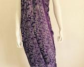 Silk Batik Sarong - Purple Large Flowers