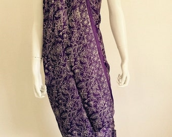 Silk Batik Sarong - Purple Large Flowers