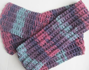 Woolblend Scarf, Handknit, Purple, Rose and Turquoise. One of a kind, ready to ship.